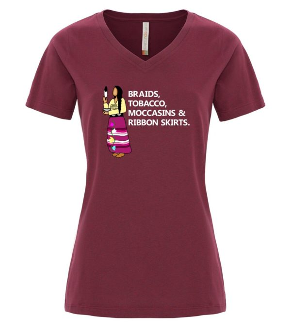 Maroon V Neck Tee with Braids, Tobacco, Moccasins and Ribbon Skirts Design
