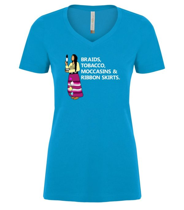 Sapphire V Neck Tee with Braids, Tobacco, Moccasins and Ribbon Skirts Design