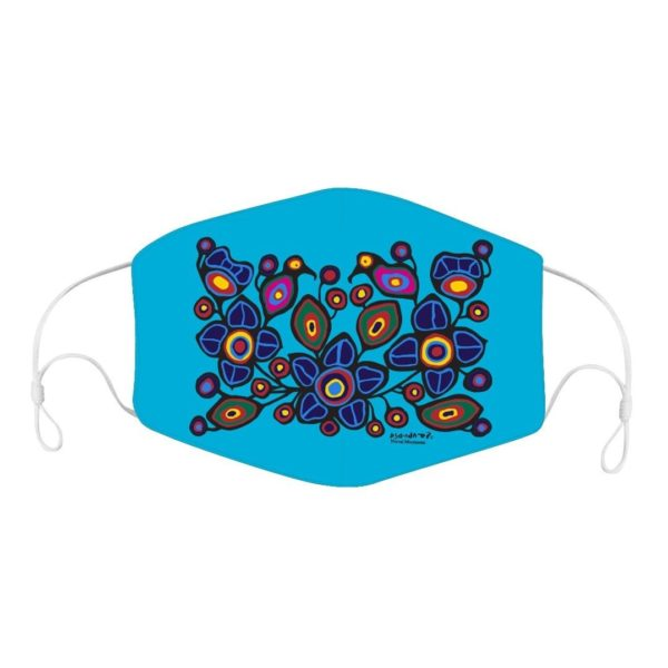 Blue Mask with Flowers and Birds Artwork.