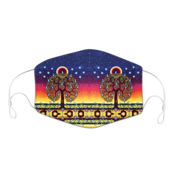 Blue, Red, and Yellow Mask with Tree of Life Artwork.
