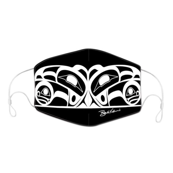 Black and white Mask with Raven Artwork.