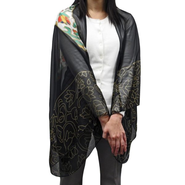 Front of Spring Bear Cape Scarf, worn as a cape