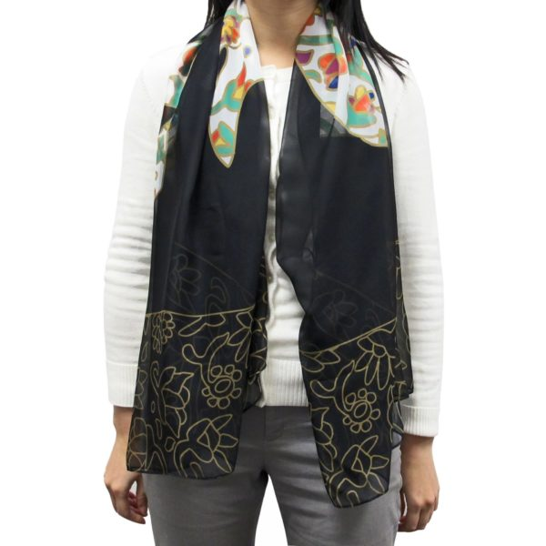 Spring Bear Cape Scarf, worn as an untied scarf.