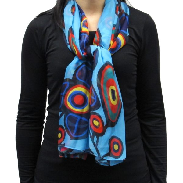 Flowers and Bird Cape Scarf, worn as a tied scarf.