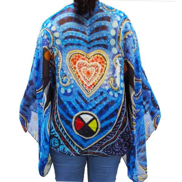 Back of Breath of Life Cape Scarf, worn as a cape