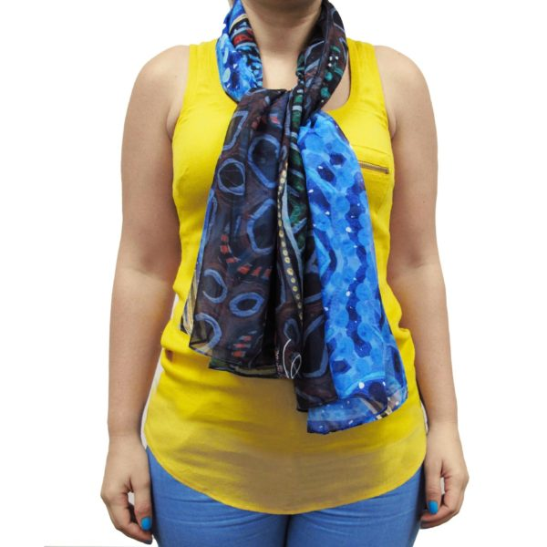 Breath of Life Cape Scarf, worn as a tied scarf.