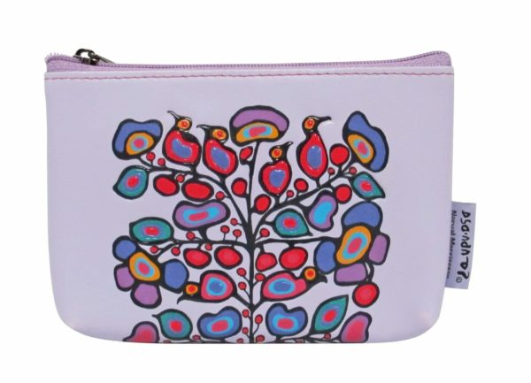 Lilac Woodland Floral artwork on coin purse.