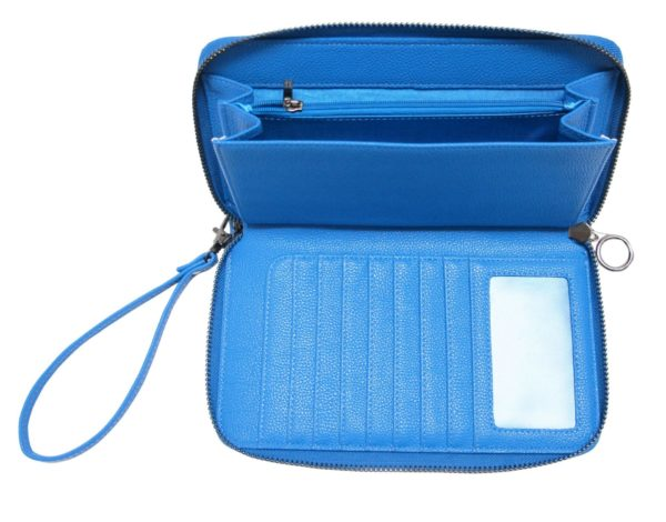 Icey Blue Travel Wallet, Inside.