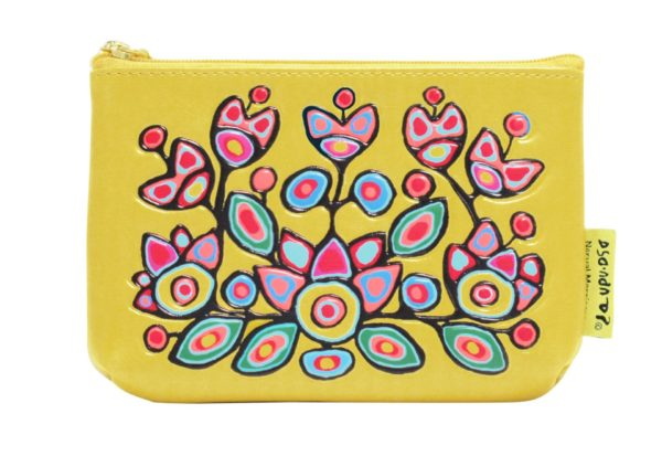 Floral on Yellow artwork on coin purse.