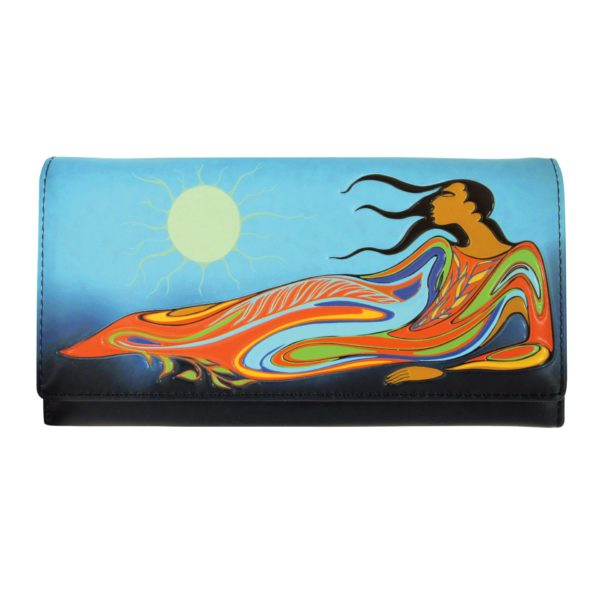 Blue and green Mother Earth Wallet, front