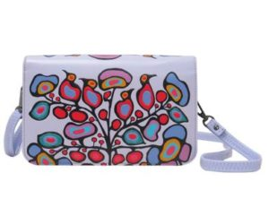 Lilac floral crossover purse.