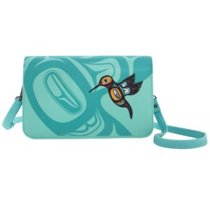Teal Hummingbird crossover purse. Front