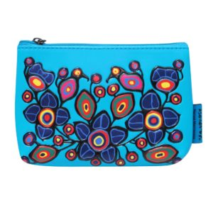Blue Flowers and Birds artwork on coin purse.
