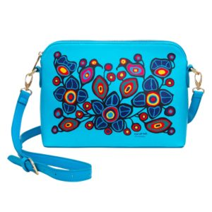 Blue Flowers and birds artwork, cross over bag for carrying belongings, Front