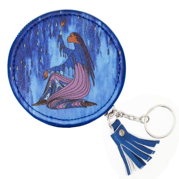 Blue Round Coin Purse Decorated with Rainmaker Artwork