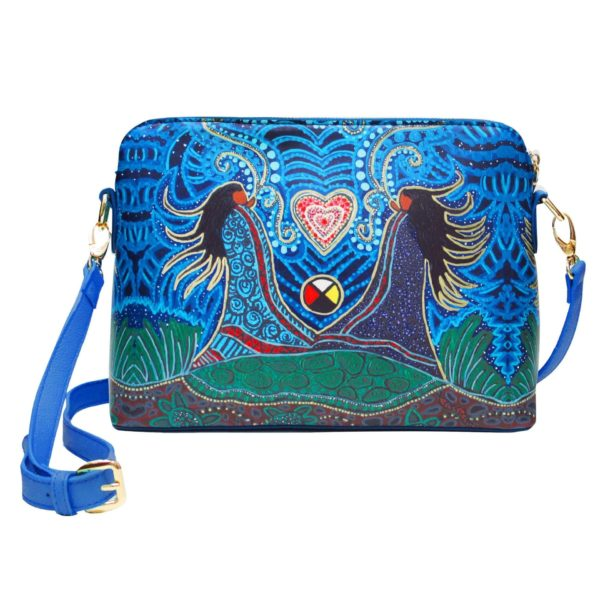 Green and blue Strong Earth Mother Cross over purse, front
