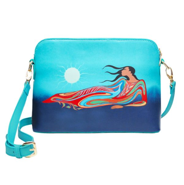 Teal, blue, red Mother Earth art on cross over purse, front