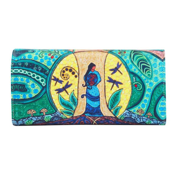 Green, blue and yellow Strong Earth Woman artwork on wallet, back