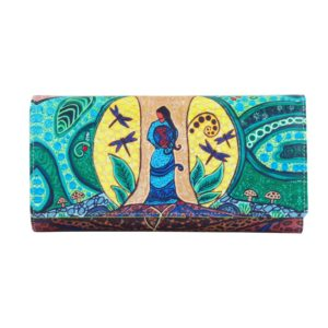 Green, blue and yellow Strong Earth Woman artwork on wallet, front