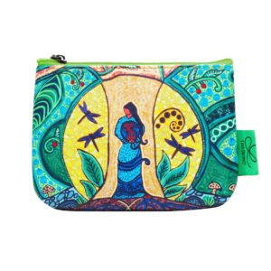 Green, yellow, and blue Strong Earth Woman artwork on coin purse.