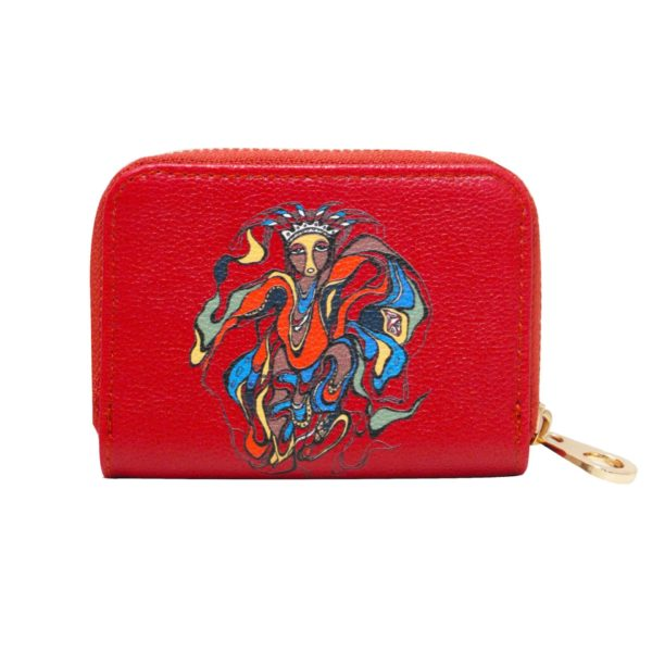 Red Pow Wow Dancer Card Wallet, front