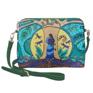 Green, blue, and yellow Strong Earth Mother Cross over purse, front