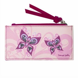 Pink Celebration of Life Card Holder with zipper. Frontside with artwork.