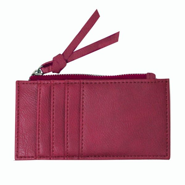 Burgundy Card Holder with zipper. Backside with card slots.