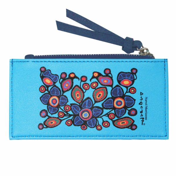 Blue Flowers and Birds Card Holder with zipper. Frontside with artwork.