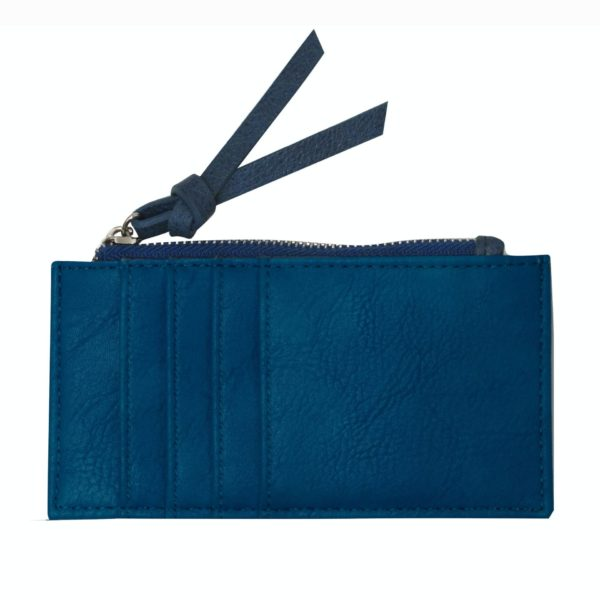 Blue Card Holder with zipper. Backside with card slots.
