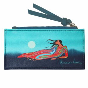 Blue Mother Earth Card Holder with zipper. Frontside with artwork.