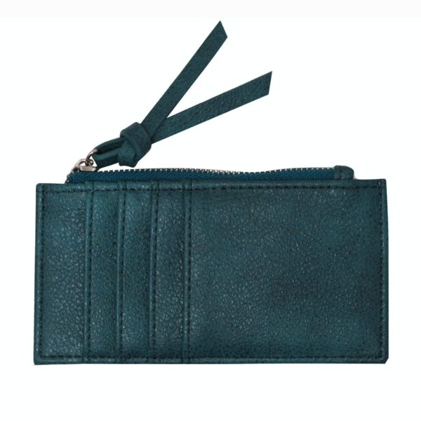 Green Card Holder with zipper. Backside with card slots.