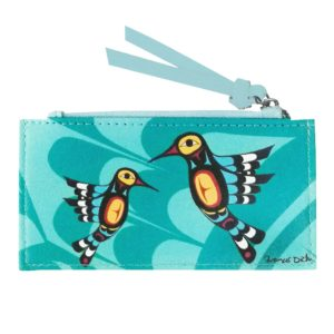 Teal Humming Bird Card Holder with zipper. Frontside with artwork.