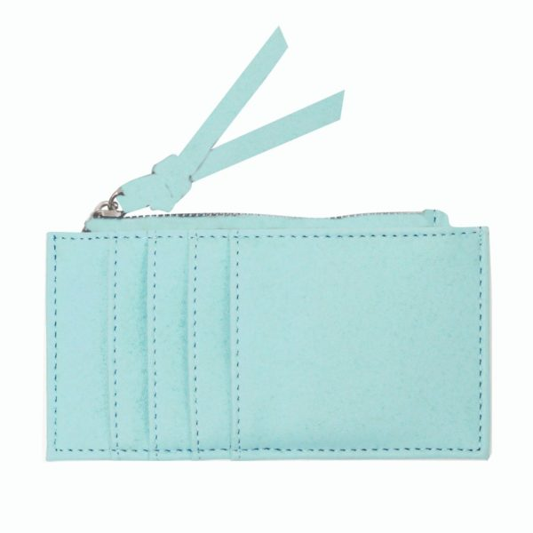 Light Teal Card Holder with zipper. Backside with card slots.