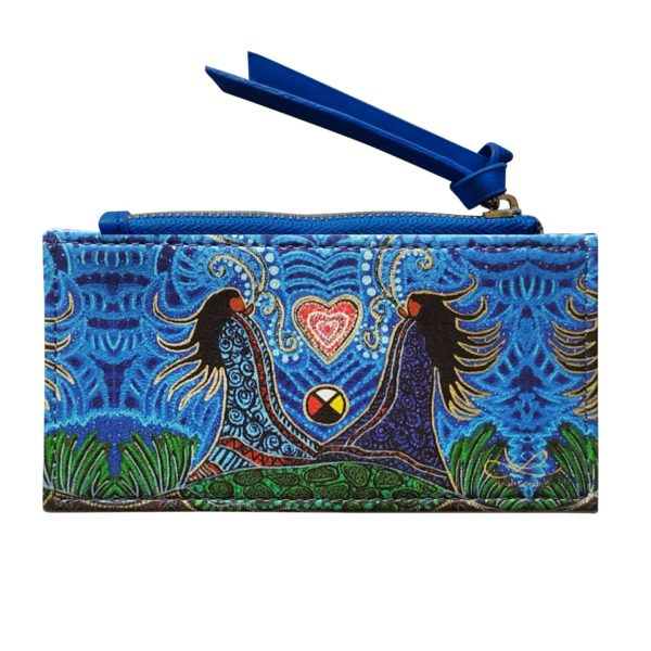 Blue Breath of Life Card Holder with zipper. Frontside with artwork.