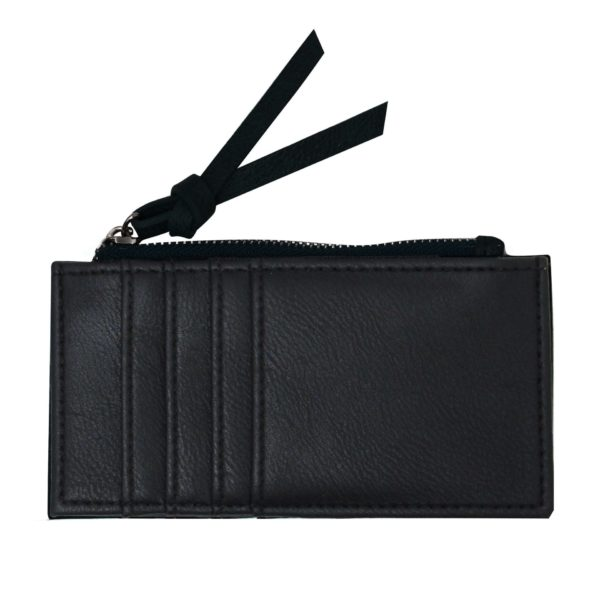 Black Card Holder with zipper. Backside with card slots.