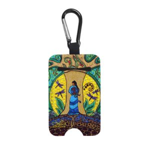 Hand Sanitizer Bottle Holder Keychain with Strong Earth Woman Design