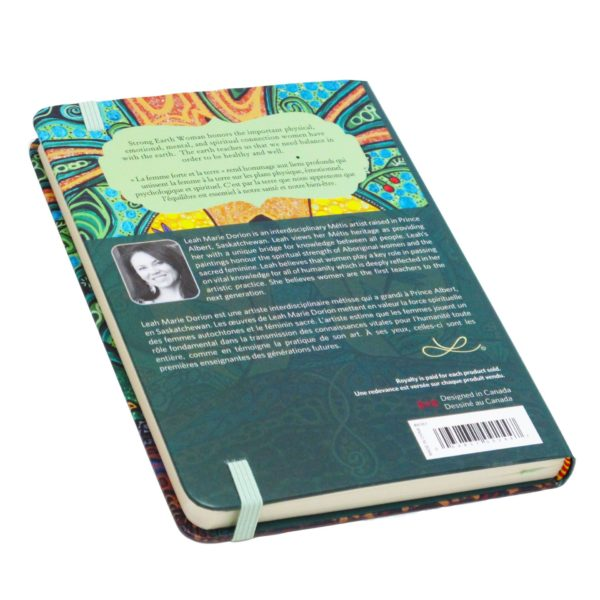 Blue, Yellow, and Green Strong Earth Woman Hardcover Journal, back