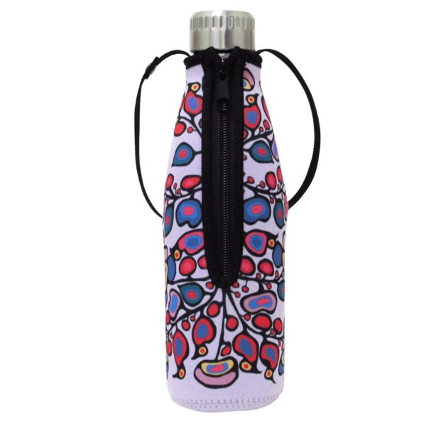 Lilac Woodland Floral Water Bottle and Sleeve, Zipper side