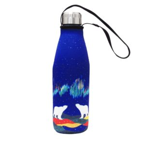 Blue, Northern Lights Sky Watchers Water Bottle and Sleeve