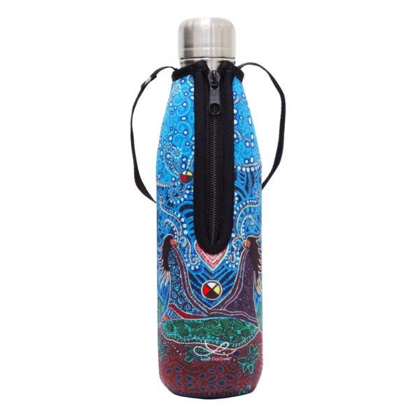 Blue, Breath of Life Water Bottle and Sleeve, Zipper Side