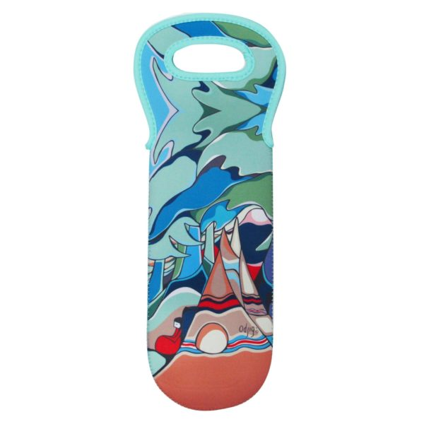Blue Flowers and Birds Wine Bottle but with of a split cross section