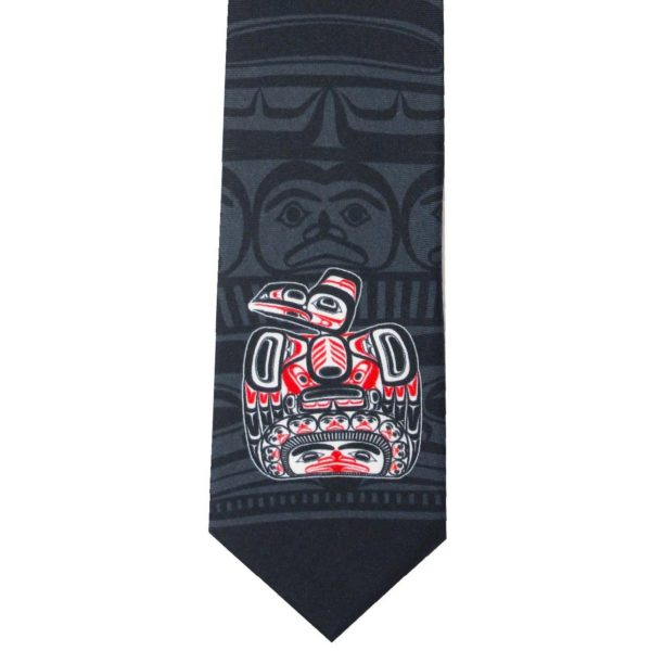 Navy with Red and white children of the Raven design Silk tie, closeup