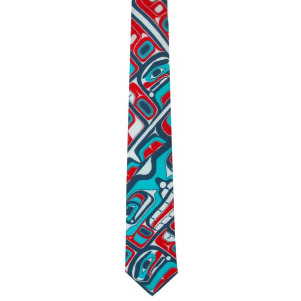 Teal, Blue, and Red Bentwood Box Design on a Silk Tie