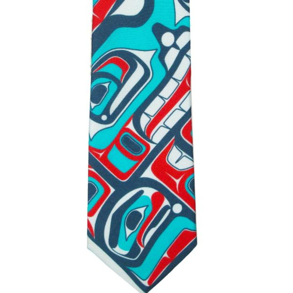Teal, Blue, and Red Bentwood Box Design on a Silk Tie, closeup