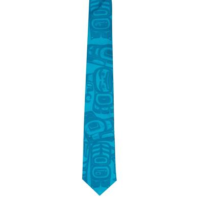 Blue tie with Love Birds design - Extended