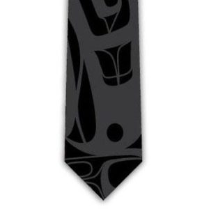 Black and charcoal tie with Eagle design - Closeup