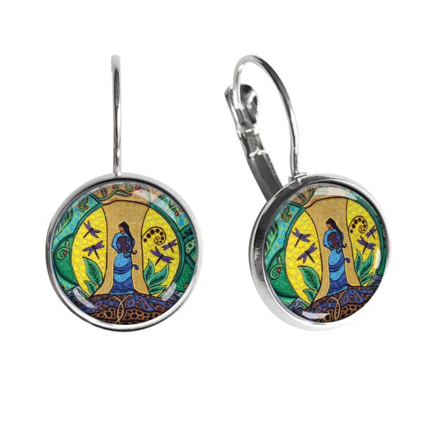 Strong Earth Woman Silver Dome Earrings