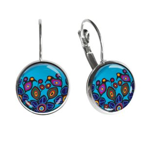 Flowers and Birds Silver Dome Earrings