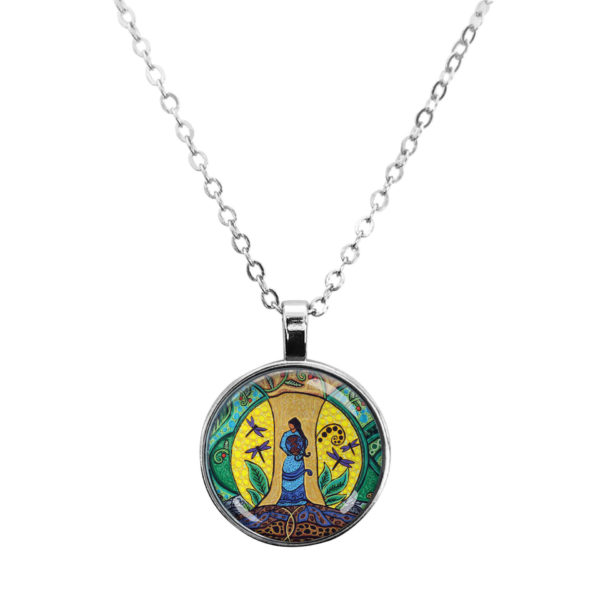 Strong Earth Woman Silver Dome Necklace